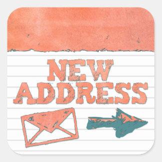 Textured Orange New Address Envelope Stickers