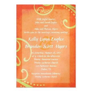 Textured Orange with Green Swirls Wedding Invite