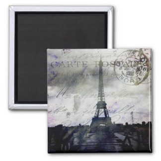 Textured Paris in Lavender Square Magnet