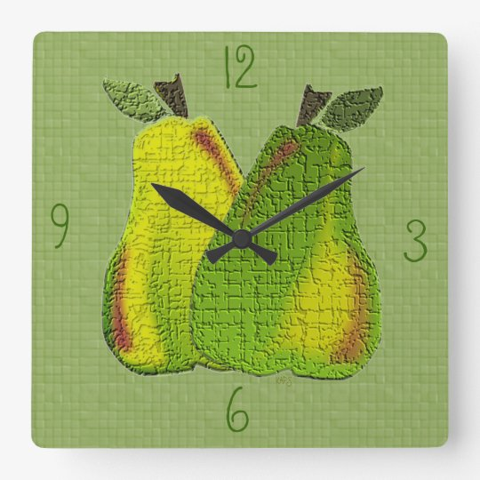 Textured Pears (tiled) Wall Clock