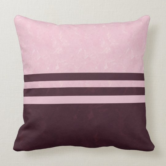 Textured Pink and Burgundy Colour Block Stripe Throw Pillow