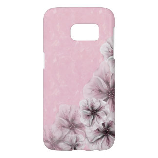 Textured Pink with Flowers Samsung Galaxy S7 Case