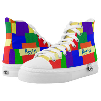 Textured Quilt Look Rainbow Resist Patchwork High Tops