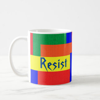 Textured Quilt Look Rainbow Resist Patchwork Mug