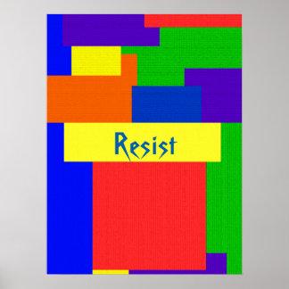 Textured Quilt Resist Rainbow Patchwork Poster