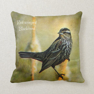 Textured Red-winged Blackbird Throw Pillow