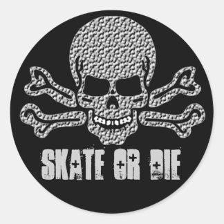 textured skull and crossbones round sticker