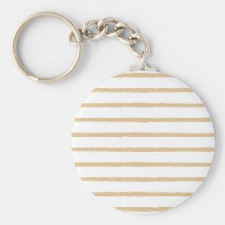 Textured Stripes Beige White  Rough Lines Pattern Basic Round Button Keychain