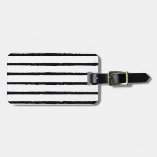 Textured Stripes Black White Rough Lines Pattern Luggage Tag