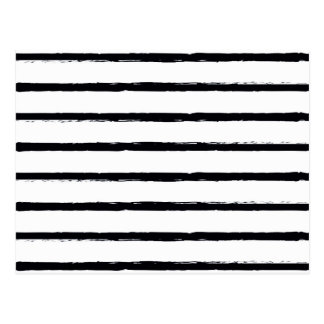 Textured Stripes Black White Rough Lines Pattern Postcard