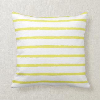 Textured Stripes Lines Bright Sun Yellow Modern Throw Pillow
