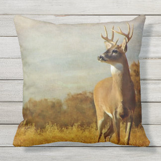 Textured Whitetail Buck Outdoor Throw Pillow