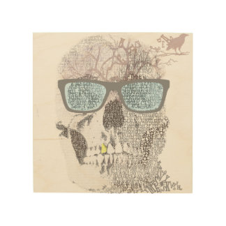 Texty Skull Wood Wall Art