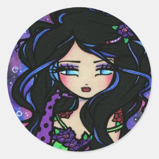 """Teya"" Mermaid Fantasy Fairy Rose Round Sticker"