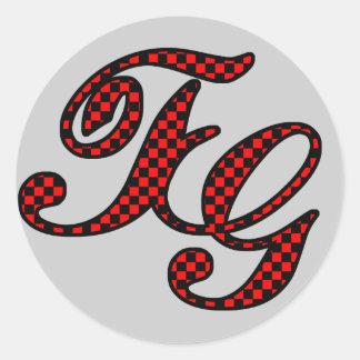 TG checkered logo Classic Round Sticker