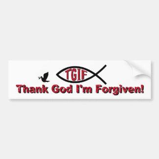 TGIF Thank God I'm Forgiven Inspired by Mark 3 28 Bumper Sticker