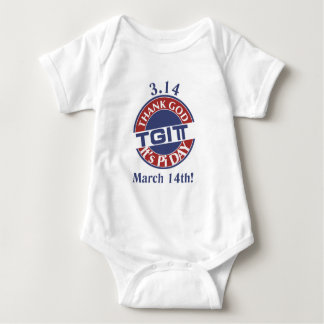TGIPi  Thank God Its Pi Day 3.14 Red/Blue Logo Baby Bodysuit