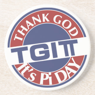 TGIPi  Thank God Its Pi Day 3.14 Red/Blue Logo Coaster
