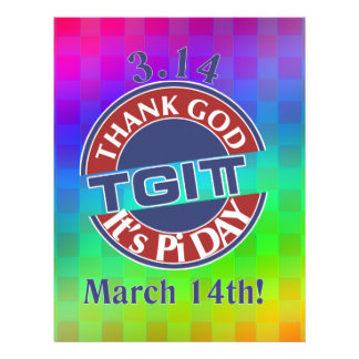 TGIPi  Thank God Its Pi Day 3.14 Red/Blue Logo Letterhead Template