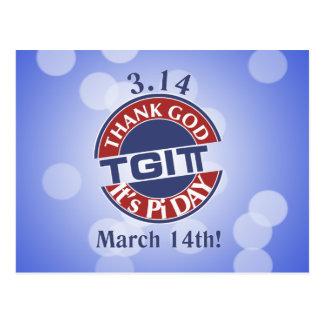 TGIPi  Thank God Its Pi Day 3.14 Red/Blue Logo Postcard