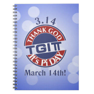 TGIPi  Thank God Its Pi Day 3.14 Red/Blue Logo Spiral Notebook