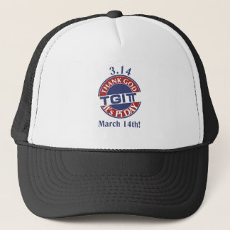 TGIPi  Thank God Its Pi Day 3.14 Red/Blue Logo Trucker Hat