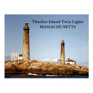 Thacher Island Twin Lights, Massachusetts Postcard