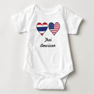 Thai American Flag Hearts Baby Bodysuit
