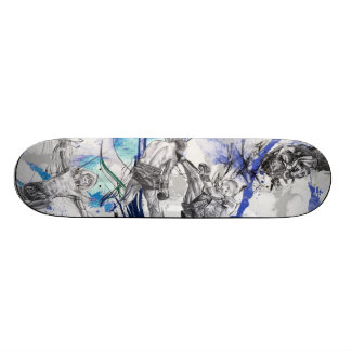 Thai Boxing Blue smoke design Custom Skate Board