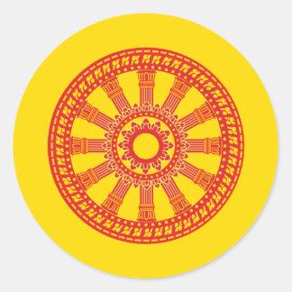 Thai buddhist flag (The Dharmacakra flag) Classic Round Sticker