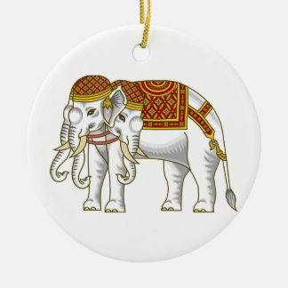 Thai Erawan White Elephant Ceramic Ornament