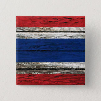 Thai Flag with Rough Wood Grain Effect 2 Inch Square Button