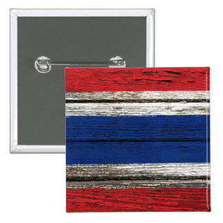 Thai Flag with Rough Wood Grain Effect Pinback Buttons