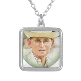 Thai King Bhumibol Adulyadej the Great Silver Plated Necklace