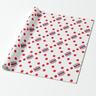 Thai Language And Thailand Flag Design Wrapping Paper