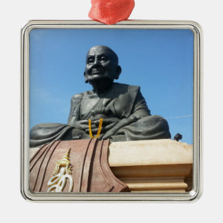 Thai monk, Luang Pu Tuad Silver-Colored Square Ornament