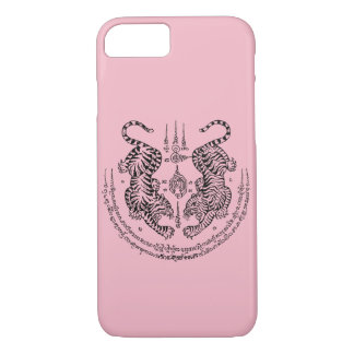 "Thai Tattoo Designs Tiger ""Yant Suea Koo"" Pink iPhone 8/7 Case"