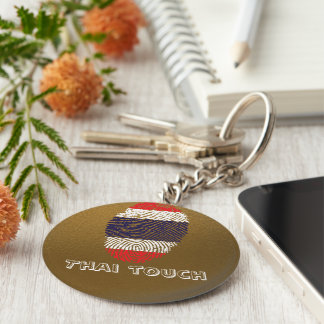 Thai touch fingerprint flag basic round button keychain
