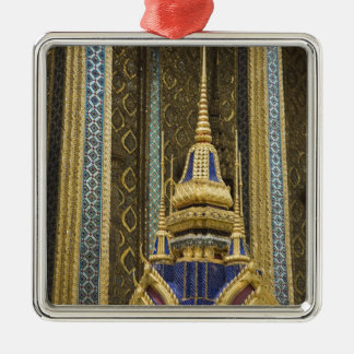 Thailand, Bangkok. Details of ornately decorated Silver-Colored Square Ornament
