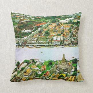 Thailand, Bangkok, River and Great Pagoda Throw Pillow