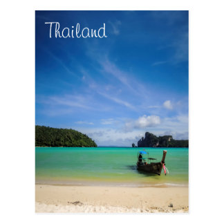 Thailand Beach Photo with Fishing Boat Postcard