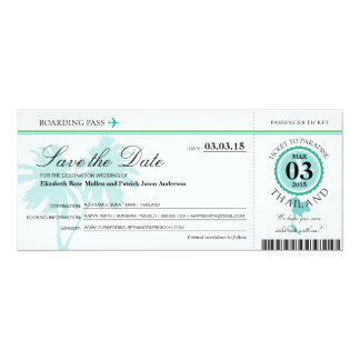 Thailand Boarding Pass Save the Date Card