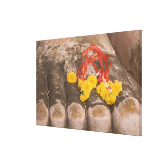 Thailand, Buddha's feet and Marigold offering Canvas Print