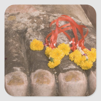 Thailand, Buddha's feet and Marigold offering Square Sticker