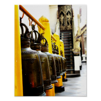 Thailand Buddhist Temple Bells Travel Poster