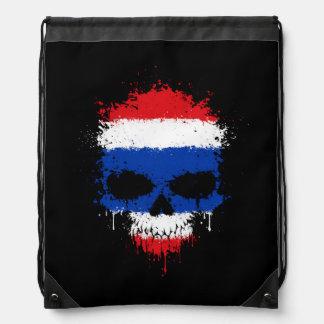 Thailand Dripping Splatter Skull Drawstring Bag