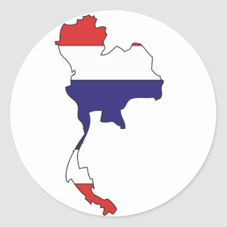 Thailand flag map classic round sticker