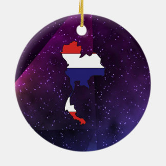 thailand Flag Map on abstract space background Ceramic Ornament