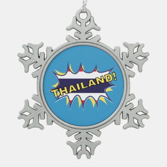 Thailand flag POW star burst Pewter Snowflake Ornament