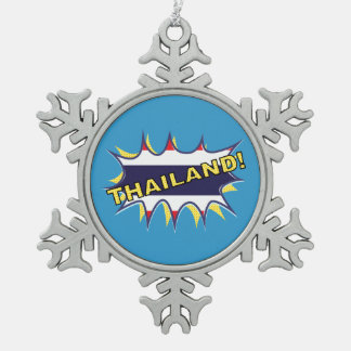Thailand flag POW star burst Snowflake Pewter Christmas Ornament